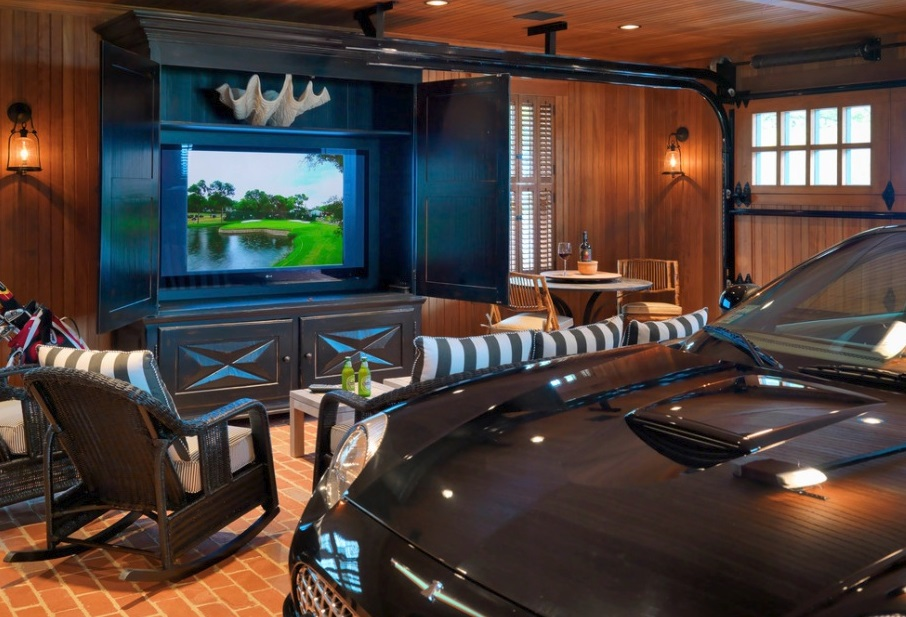 how to transform a garage into a man cave effortlessly dudeliving. Black Bedroom Furniture Sets. Home Design Ideas