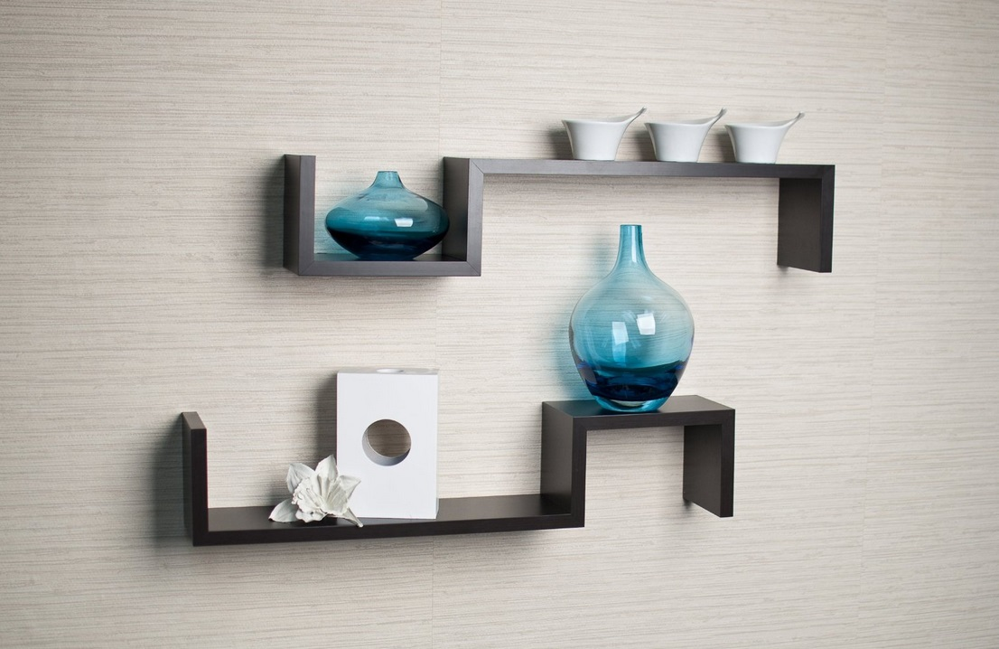 Shelf ideas for the modern man cave dudeliving Wall mounted bookcase shelves