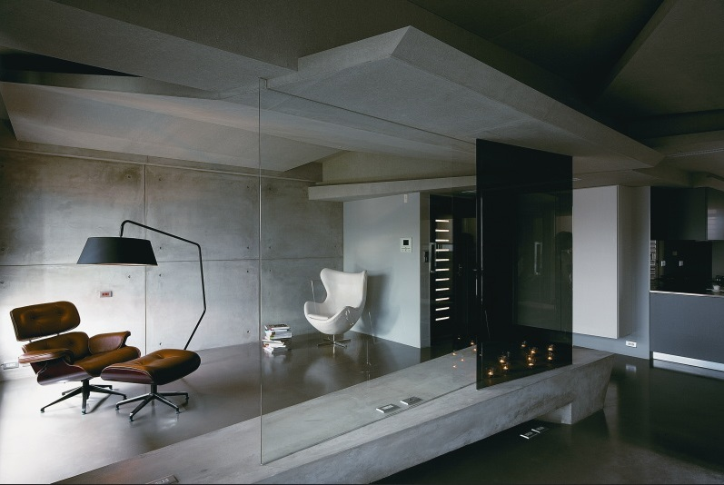 concrete and steel are making a comeback in interior design dudeliving. Black Bedroom Furniture Sets. Home Design Ideas