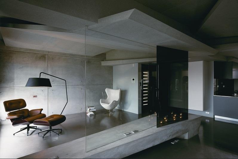 concrete and steel are making a comeback in interior design dudeliving. Black Bedroom Furniture Sets. Home Design Ideas